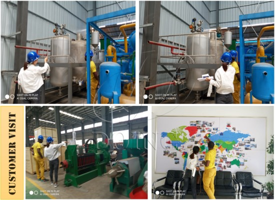 Cameroon customer came to inspect 1-2tpd small palm oil refining machine