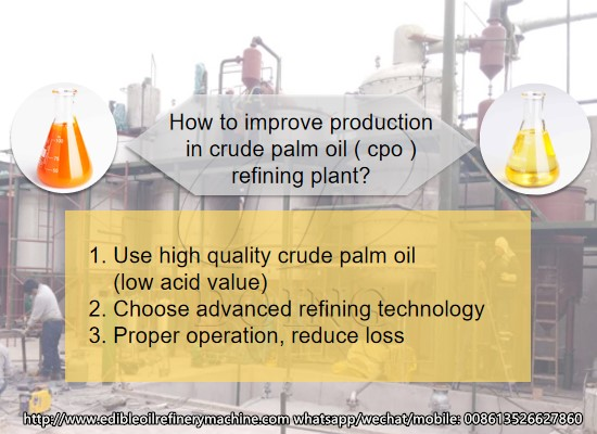 How to improve the crude palm oil refining to edible oil conversion rate?