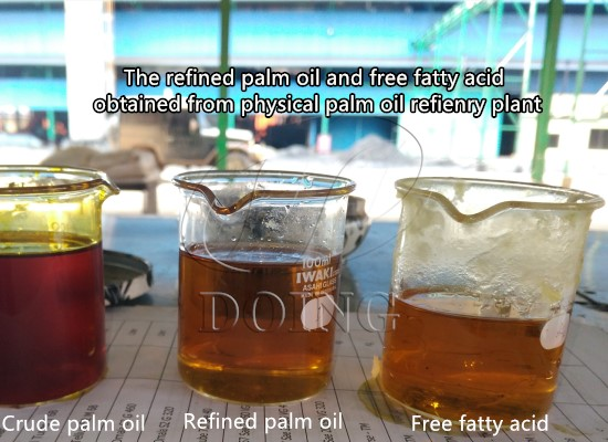 What are the products and by-products obtained from crude palm oil refining?